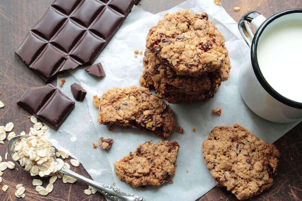 Havermoutkoekjes met stukjes chocola
