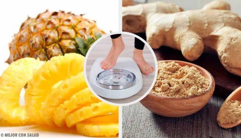 Smoothie met ananas en gember om gewicht te verliezen