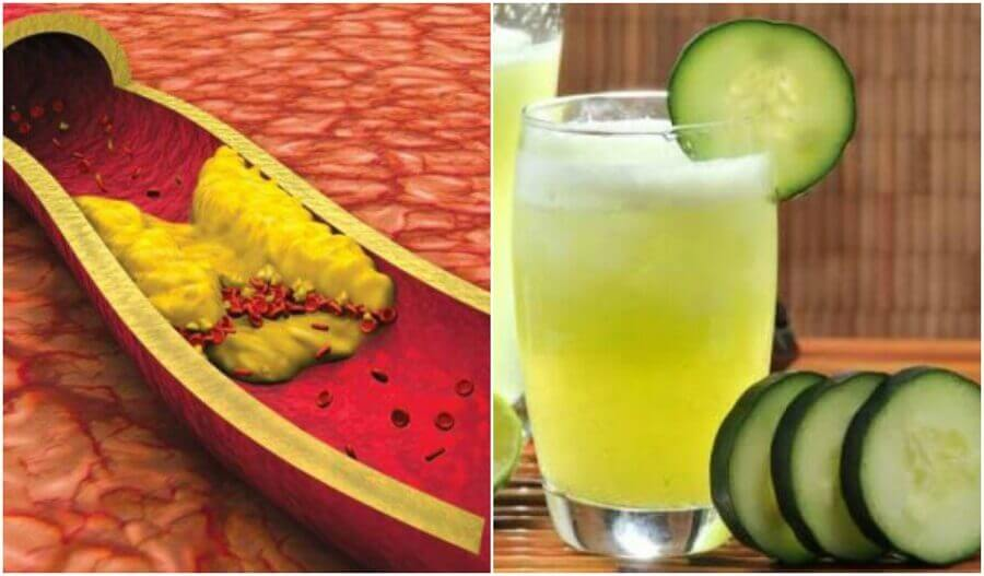 Cholesterol verminderen met een sap van aloëvera, komkommer en grapefruit