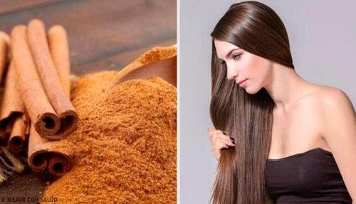 kaneelpoeder en lang haar