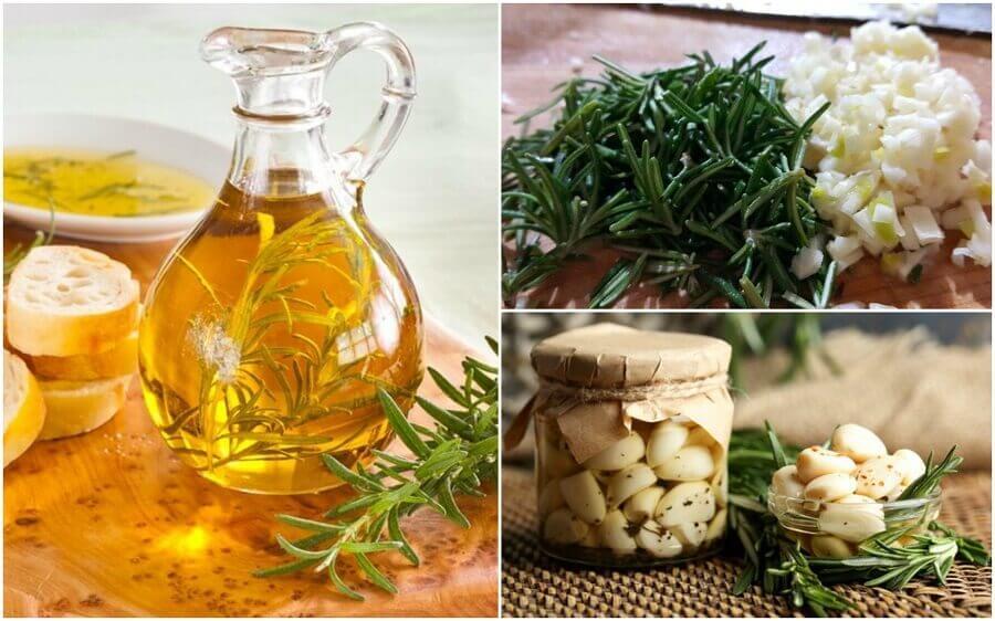 Hoe maak je olie verrijkt met rozemarijn en knoflook?