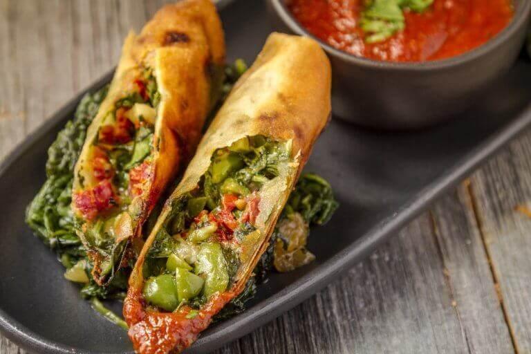 Wraps met spinazie en andere groenten