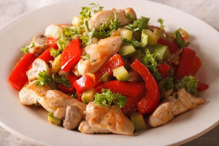 Groenten met kip