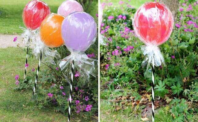 Versieren met ballonnen: in de vorm van lolly's