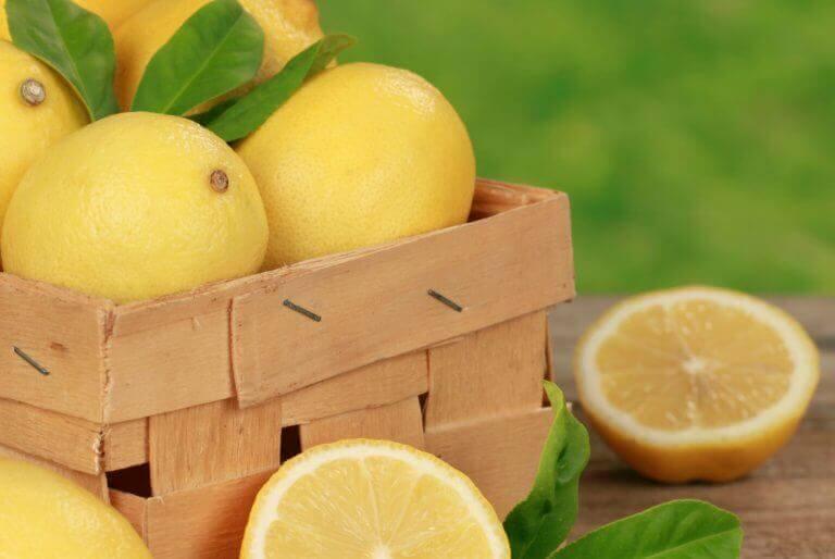 Hele en gesneden citroenen