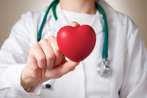 Arts houdt een hartjesvorm vast