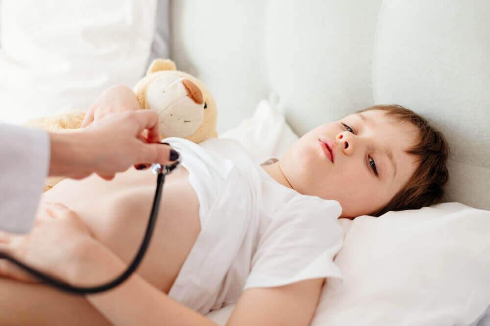Jongen met beertje wordt door een arts nagekeken