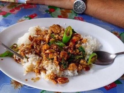 Chinese rijst met kip en honing