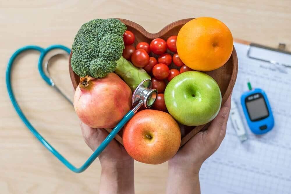 Fruit, groente en stethoscoop
