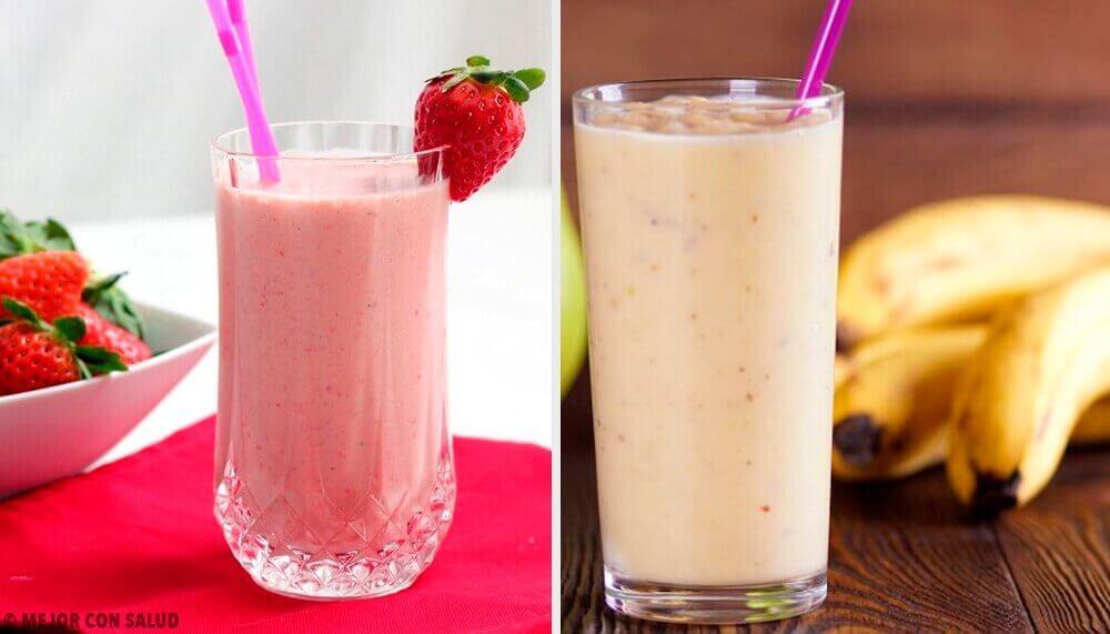 5 smoothies met aardbeien en banaan voor het ontbijt