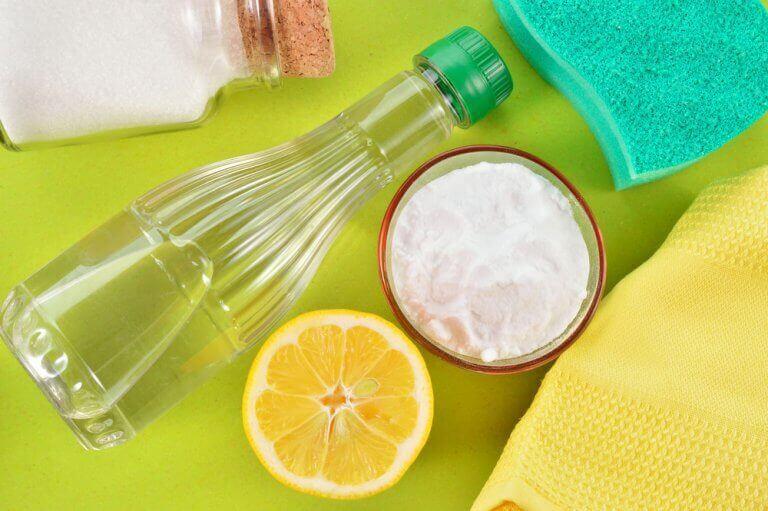 Fles azijn, bakje zout en een halve citroen