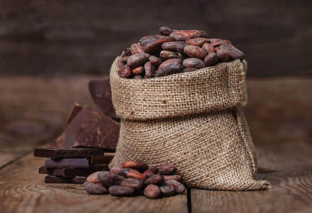Jute zak met cacaobonen