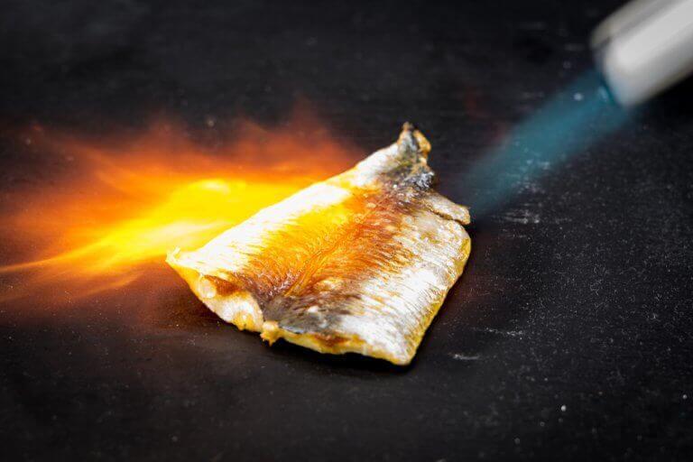 Gegratineerde vis bereiden door de vis te branden met een brander