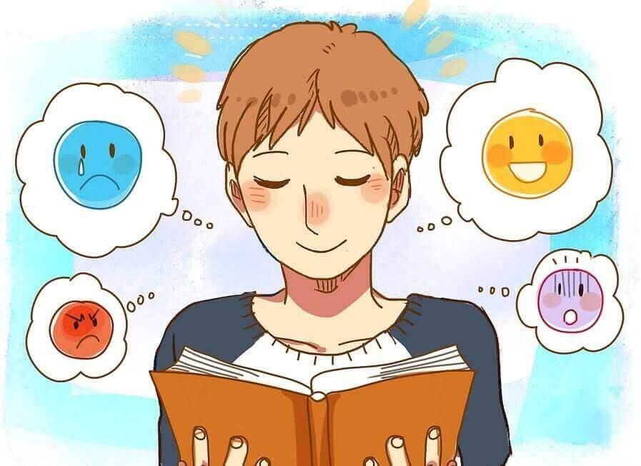 Cartoon lezende man