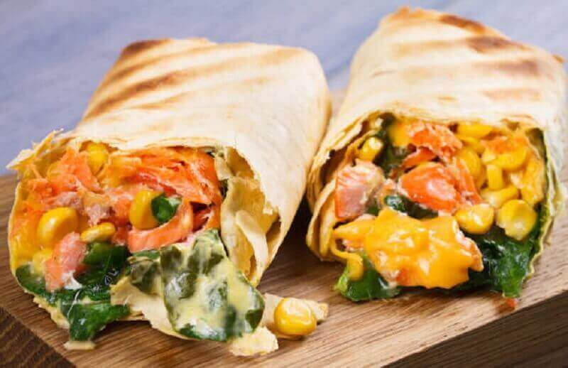 Groente-burrito met maïs