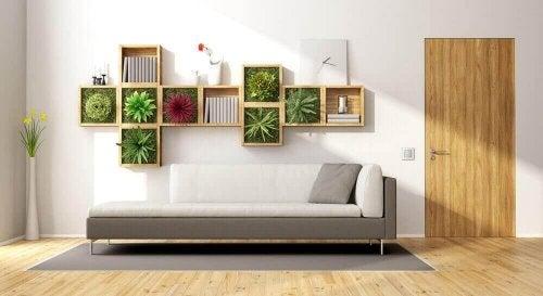Planten aan de muur verwijderen koolstofdioxide