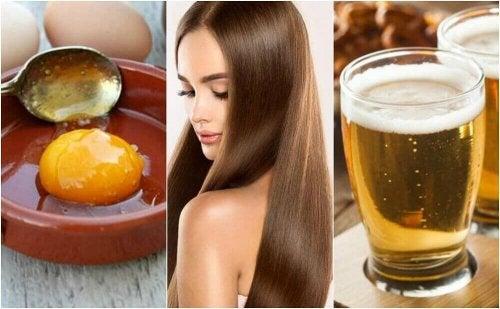 Zijdezacht haar door een behandeling met ei en bier
