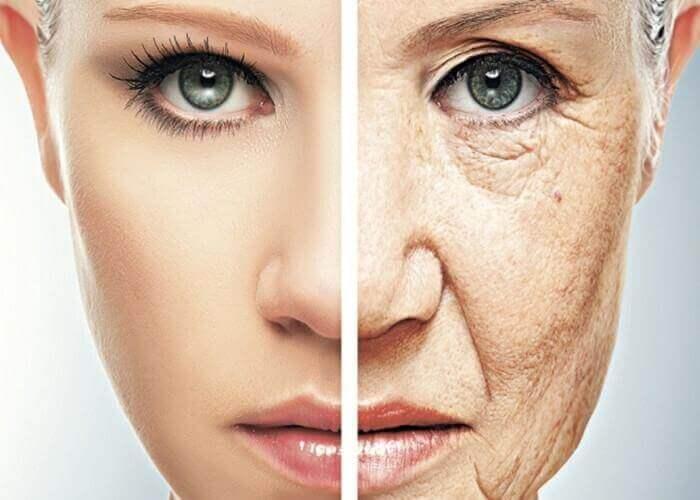 Gladde huid en verouderde huid