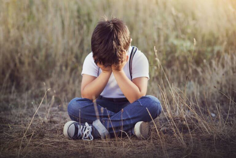 huilend jongetje in een veld