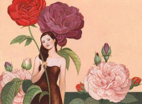 vrouw met rozen