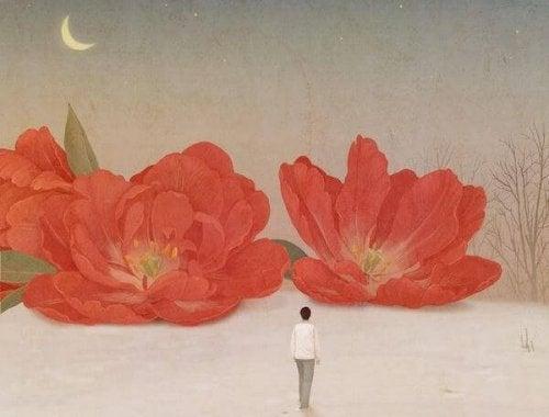 bloemen en de maan
