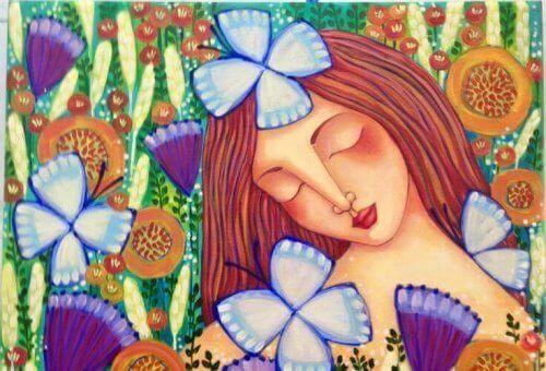 meisje met vlinders en bloemen