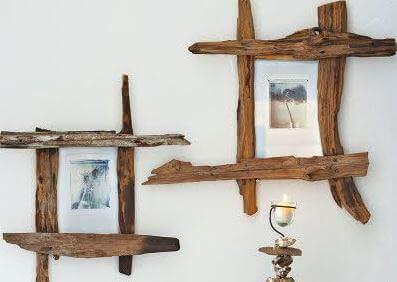Zelfgemaakte houten fotolijsten