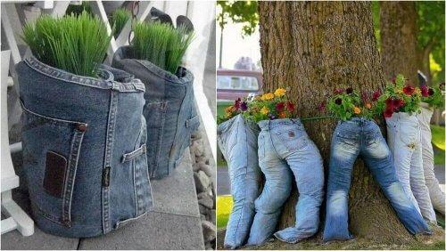 Bloempotten om een spijkerbroek te recyclen