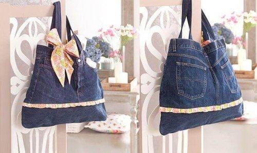 Tassen van jeansstof om een spijkerbroek te recyclen