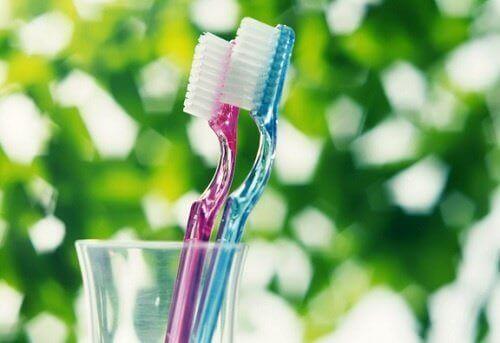 Tandenborstels in een beker