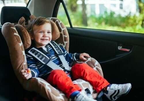 Blij kind in een autozitje