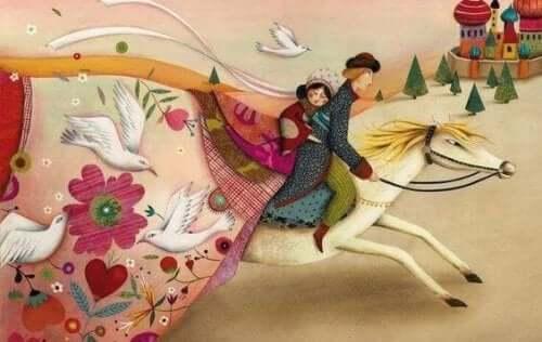 Sprookjespaar op een wit paard
