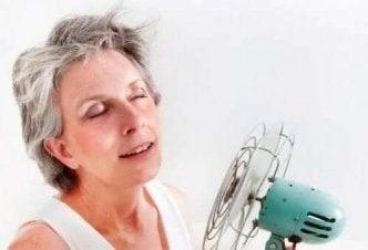 Vrouw met een ventilator