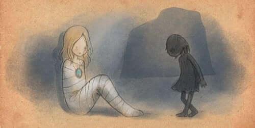 het bange kind in een volwassen vrouw