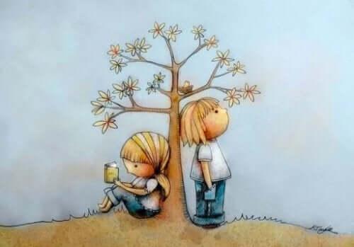 Een kind leest het andere kind niet