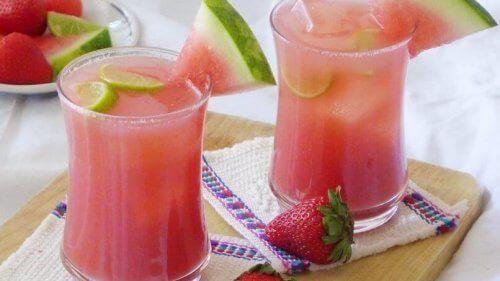 Watermeloen en kokoswaterinfusie