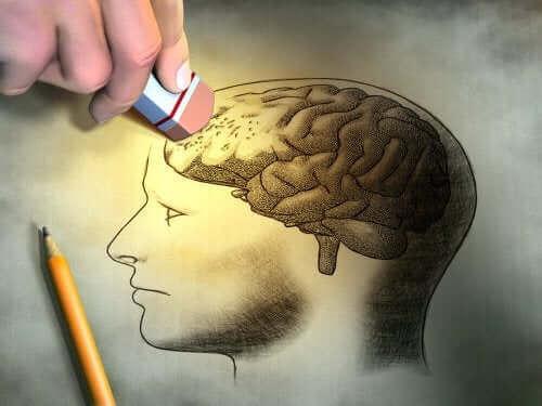 Iemand gumt een deel van de hersenen weg