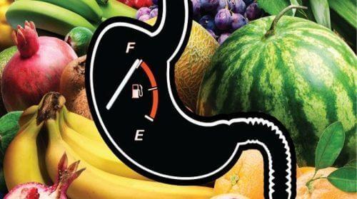 Een aantal soorten fruit en een verzadigingsmeter