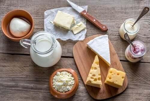 Verschillende soorten melkproducten