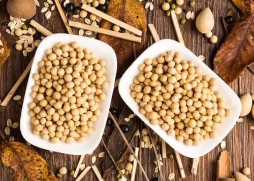 Schaaltjes met sojabonen