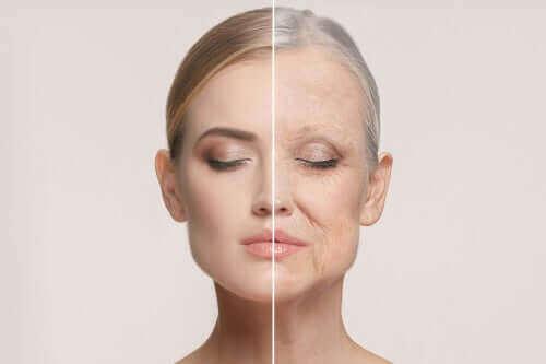 Een vrouw met een jong en een oud gezicht