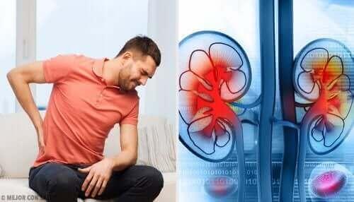 Een man heeft last van pijn in de nieren