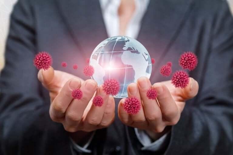 Virus en wereldbol