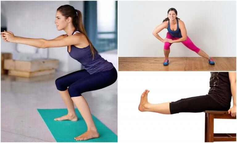 Verschillende oefeningen voor de benen