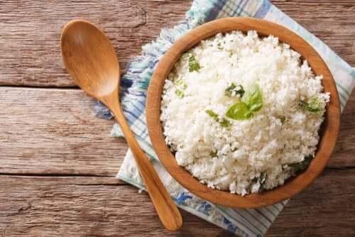 Pasta en rijst eten