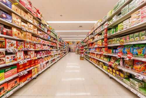 Gangpad in een supermarkt