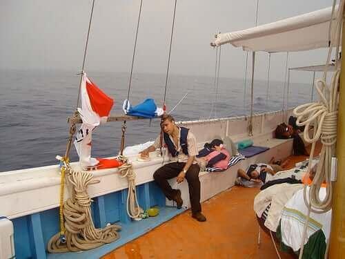Op een boot kun je zeeziek worden