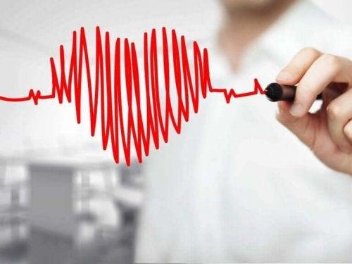 Met rode pen een hart tekenen