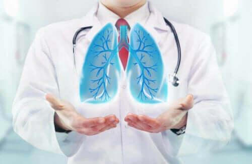Arts laat de functie van longen zien