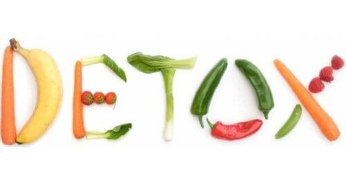 Het woord detox van groente en fruit